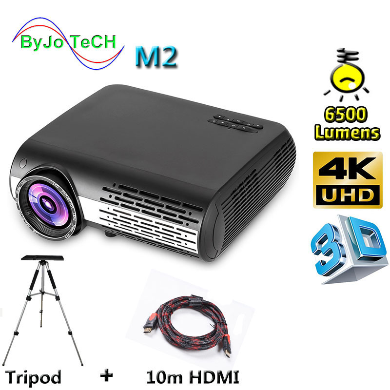Poner Saund M2 LED 4K 2K FULL HD projector 6500 Lumens 3D Home Theatre Support HDMI USB VGA AV Vs led9 100 inch curtain Optional image