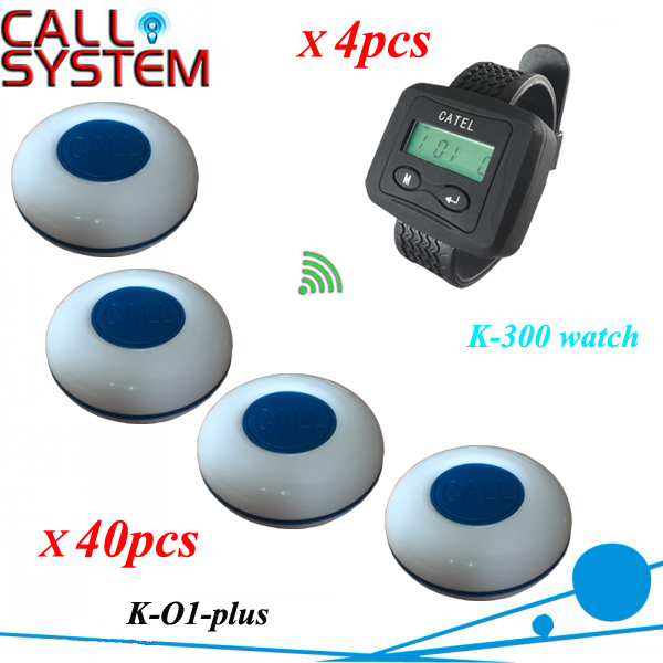 Restaurant Waiter Calling System For Guest Paging use in Cafe, 40 Tablel Bell K-O1-plus W 4pcs Wrist Watch Free shipping 2 receivers 60 buzzers wireless restaurant buzzer caller table call calling button waiter pager system
