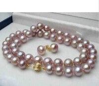Prett素敵な女性の結婚式無料>> 7〜8ミリメートル天然ラベンダーアコヤ養殖真珠gpイヤリングネックレスセット18