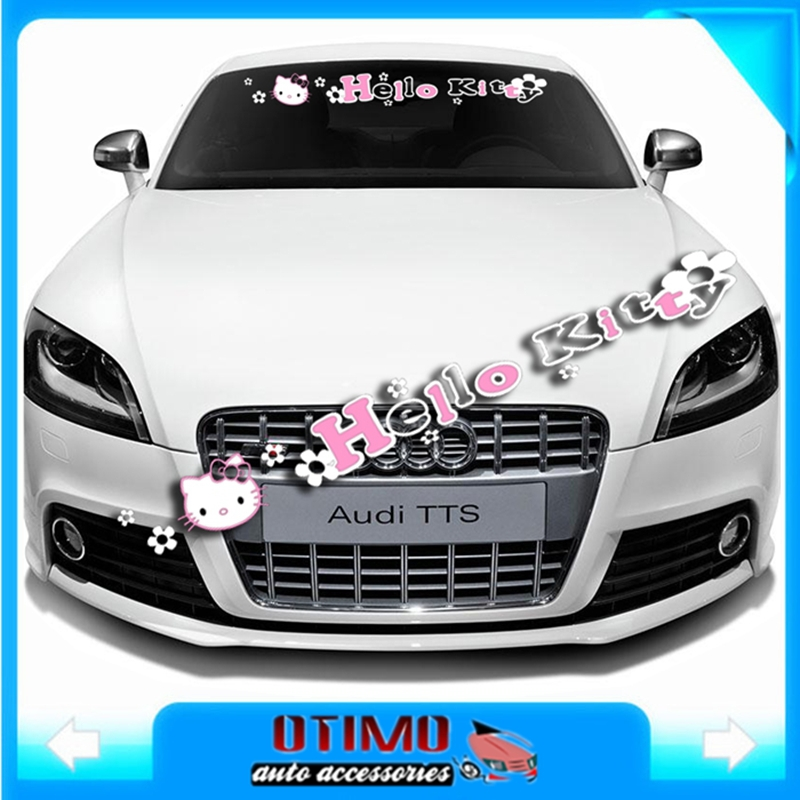 95 x 12cm hello kitty car styling accessories front windshield decal sticker kt emblem no background reflective vinyl stickers in car stickers from