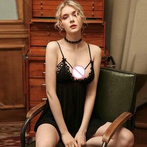 Image 5 - צרפתית גבירותיי Housewear סקסי לאחר פיצול תחרה הכלה שמלת Homewear קיץ ערב כותונת נשים של כותנות לילה קלע