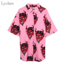 Lychee Harajuku Demon Print Summer Women Blouse Punk Gothic Casual Loose Short S