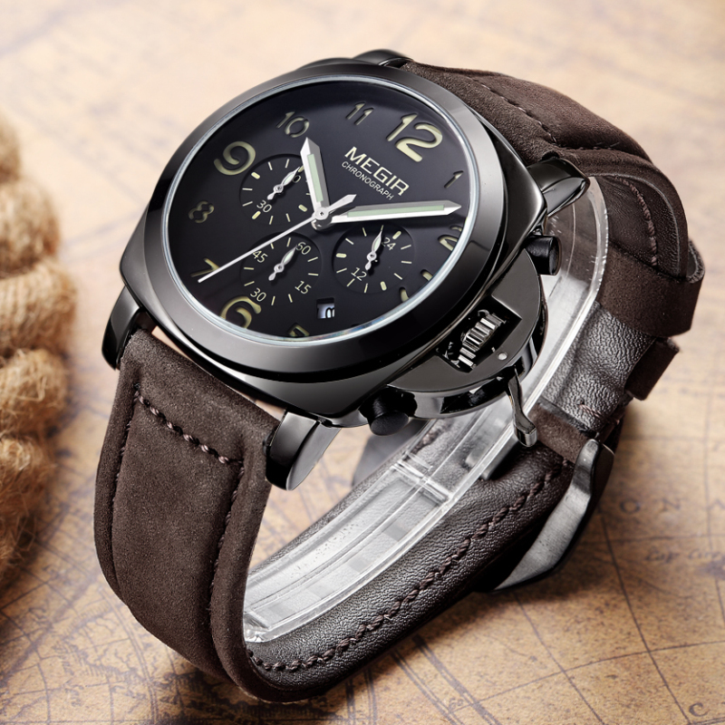 250518074d7f Reloj MEGIR de relojes de lujo de marca famosa fecha cronógrafo ...