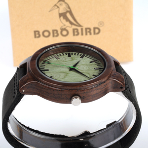 Image 4 - BOBO BIRD WC25 Ebony Wooden Watch Green Second Pointer Wood Face Watches for Men
