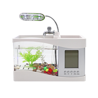 Aquarium USB Mini Aquarium Fish Tank Aquarium with LED Lamp Light LCD Display Screen and Clock Fish Tank Aquarium Black/ White