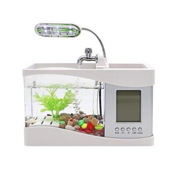 Aquarium USB Mini Aquarium Fish Tank Aquarium with LED Lamp Light LCD Display Screen and Clock Fish Tank Aquarium Black/ White фото