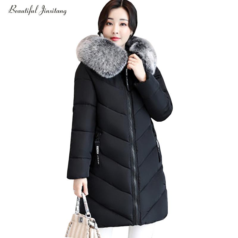 XL 6XL large size women down jacket big fur collor fashion girl style of slim women