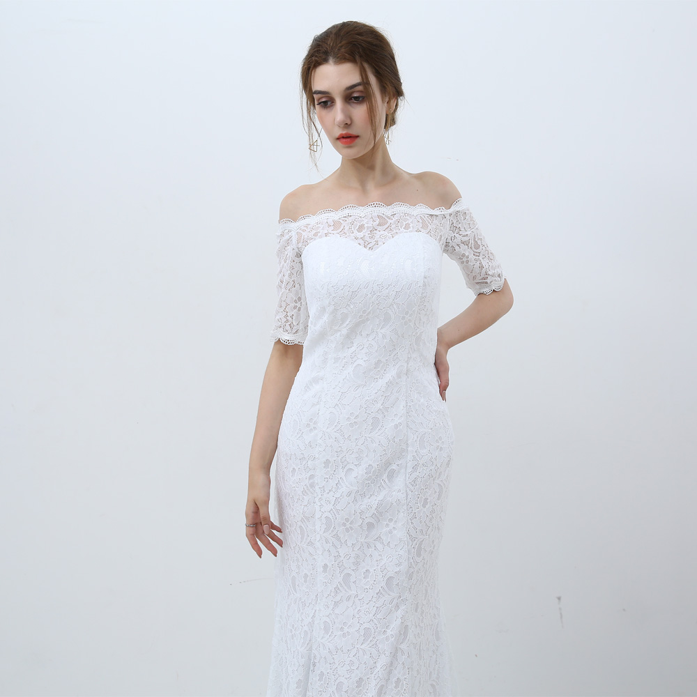 White Vintage Off The Shoulder Half Sleeves Lace Mermaid Wedding Dress