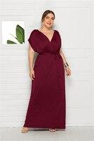 Female Plus Big Size Elegant Maxi Dress Fashion Batwing Short Sleeve Clothing Vintage 2019 Summer Evening Party Gown with Sashes