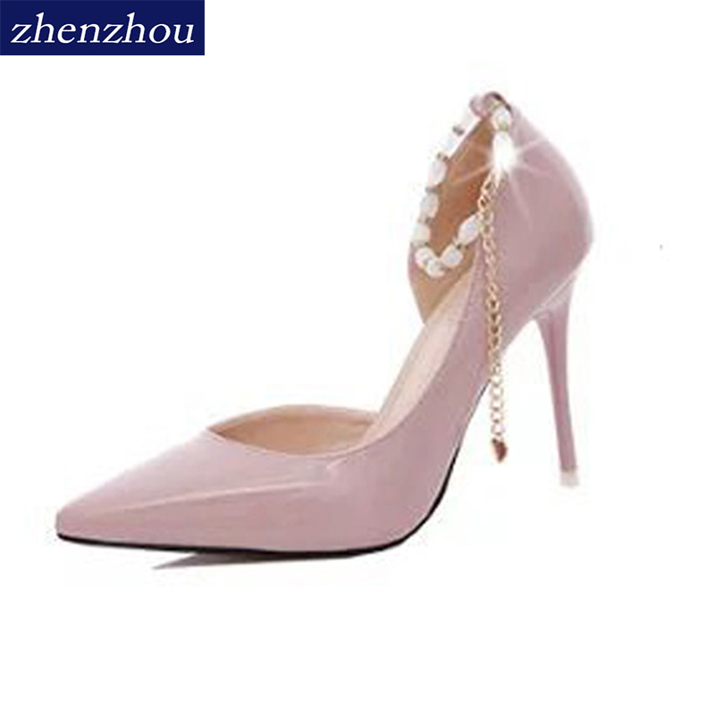 Free shiping shoes Woman 2017 autumn new style diamond thin heel pointed toe High heels A word cingulate Big yards for women 2015 autumn korean style pointed shoes with thin heels original glass double peach heart design shoes leather shoes