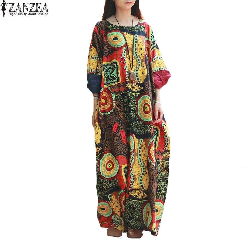 Zanzea 2017 nuevas mujeres retro de flores al azar baggy batwing manga kaftan pa