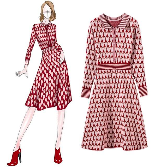 סתיו Streetwear ארוך שרוולים שמלה אלגנטי ליידי אדום סוודר שמלת 2018 אופנה אלגנטי ארוך סגנון סרוג סוודר שמלה