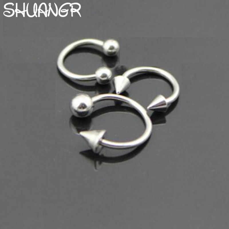 SHUANGR חדש הגעה 1 זוג אופנה סגנון רפואי הופ קליפ על האף טבעת פירסינג מזויף פירסינג תכשיטים עבור נשים