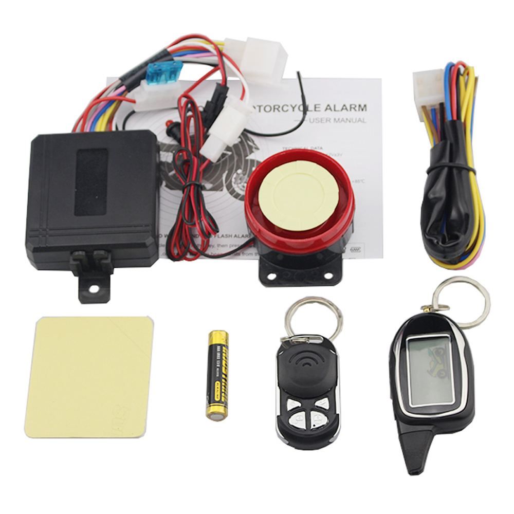 2 Way Vibration Alarm Universal Motorcycle Scooter Anti-theft Protection Moto Alarm Security System LCD Display Engine Start