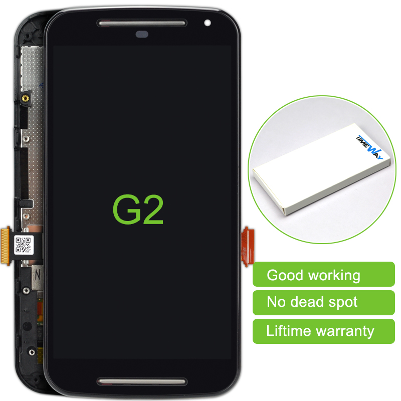 2 pcs Best selling for Motorola MOTO G2 XT1063 XT1068 XT1069 LCD Display Touch Screen Panel Digitizer + Frame Replacement