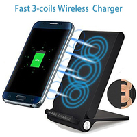 Foldable Wireless Charging Stand 3 Coils Qi Wireless Charger For Samsung Galaxy Note 5 8 S6