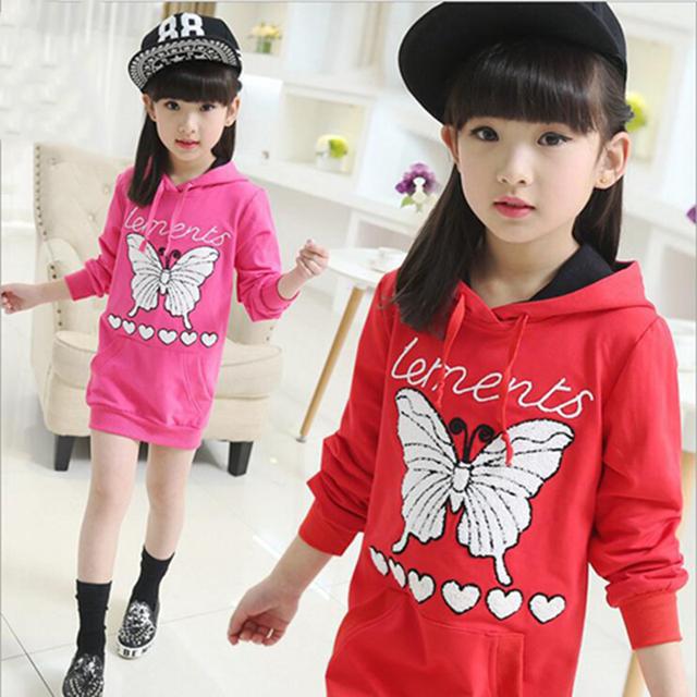 3-9Y crianças roupas 2016 nova causais crianças meninas hoodies manga comprida borboleta dos desenhos animados projeto longa com capuz camisola menina
