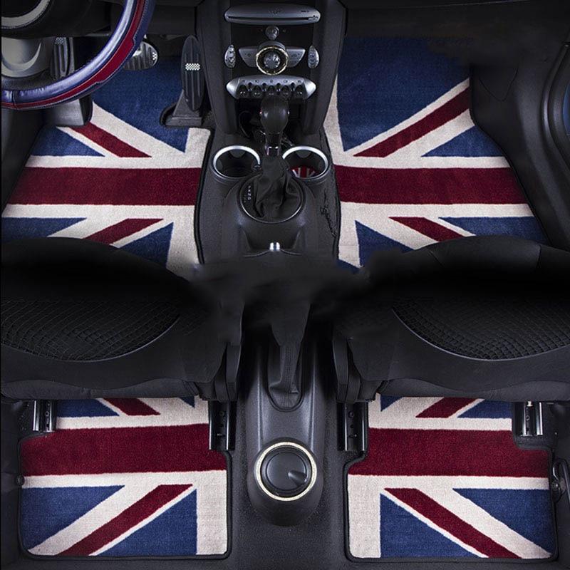 Полный набор класса люкс объемный автомобильные подушки с принтом флага Великобритании Юнион Джек автомобиль напольные коврики для Mini Cooper