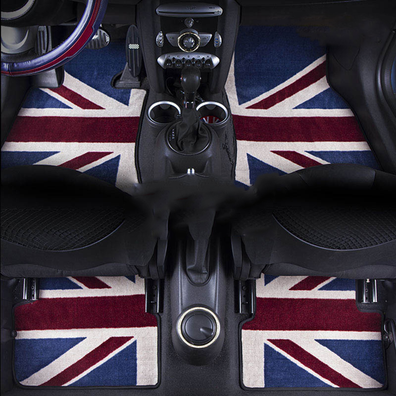 Full Set Luxury Surround Union Jack Car Floor Carpet Mats