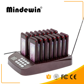 Mindewin Restaurant Simple Queue Management System 433MHz Pager Wireless Coaster Paging System 16 Calls Number Buzzers