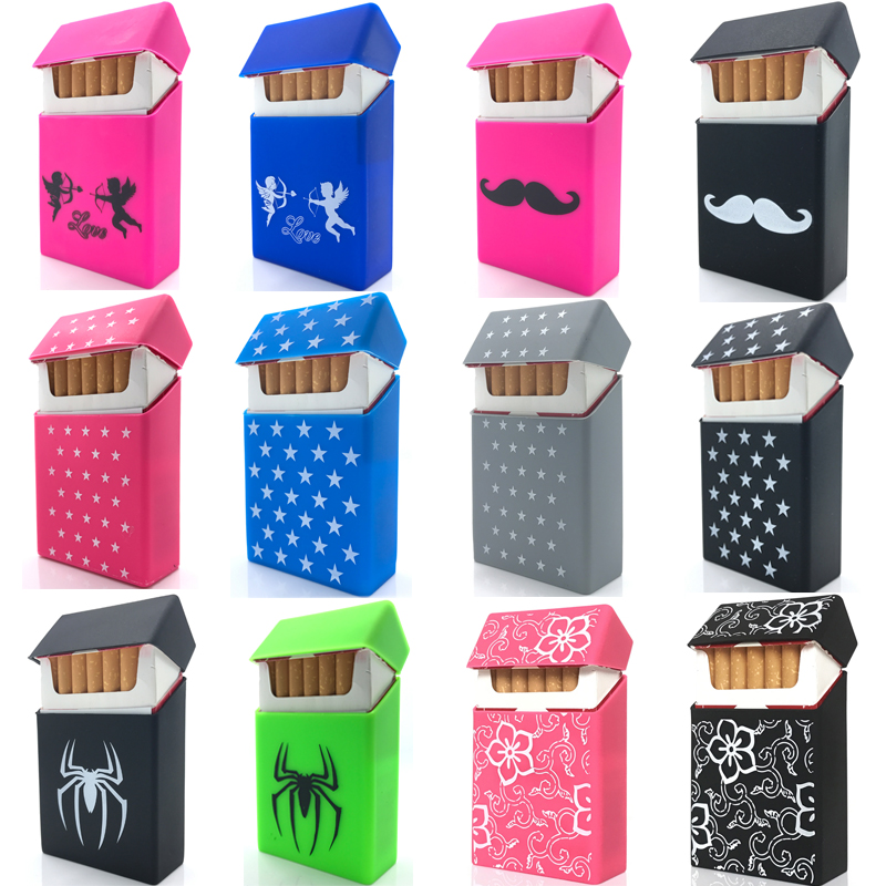 Holds 20 Cigarettes,Fasion lovery Silicone cigarette case fashion cover elastic rubber portable women cigarette box sleeve