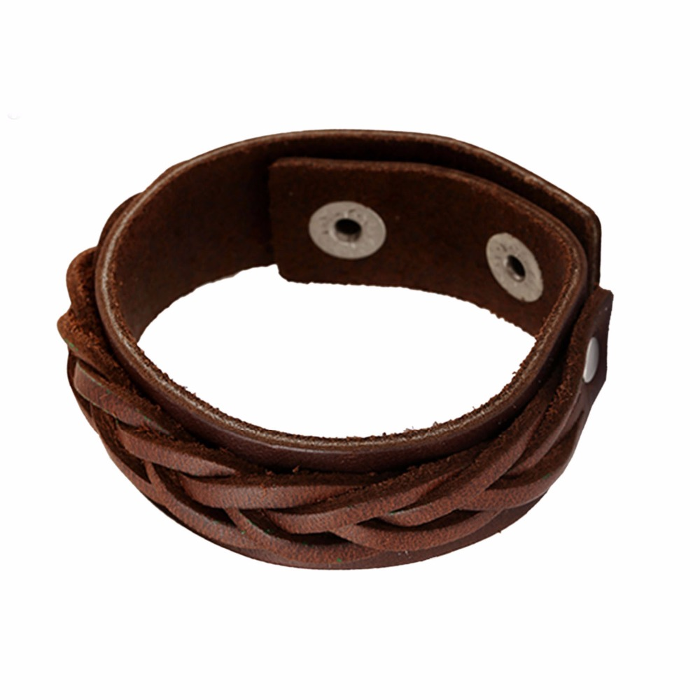 Mens Leather Jewelry Brown/Dark Color Cowhide Wristband Charm Snap Cuff Bracelet Bangles for Party Gift