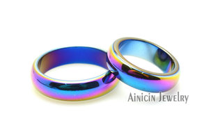Image 3 - 50pcs Rainbow Color Plated Hematite #6~#10 Ring For Man and Women Fashion Party Jewelry