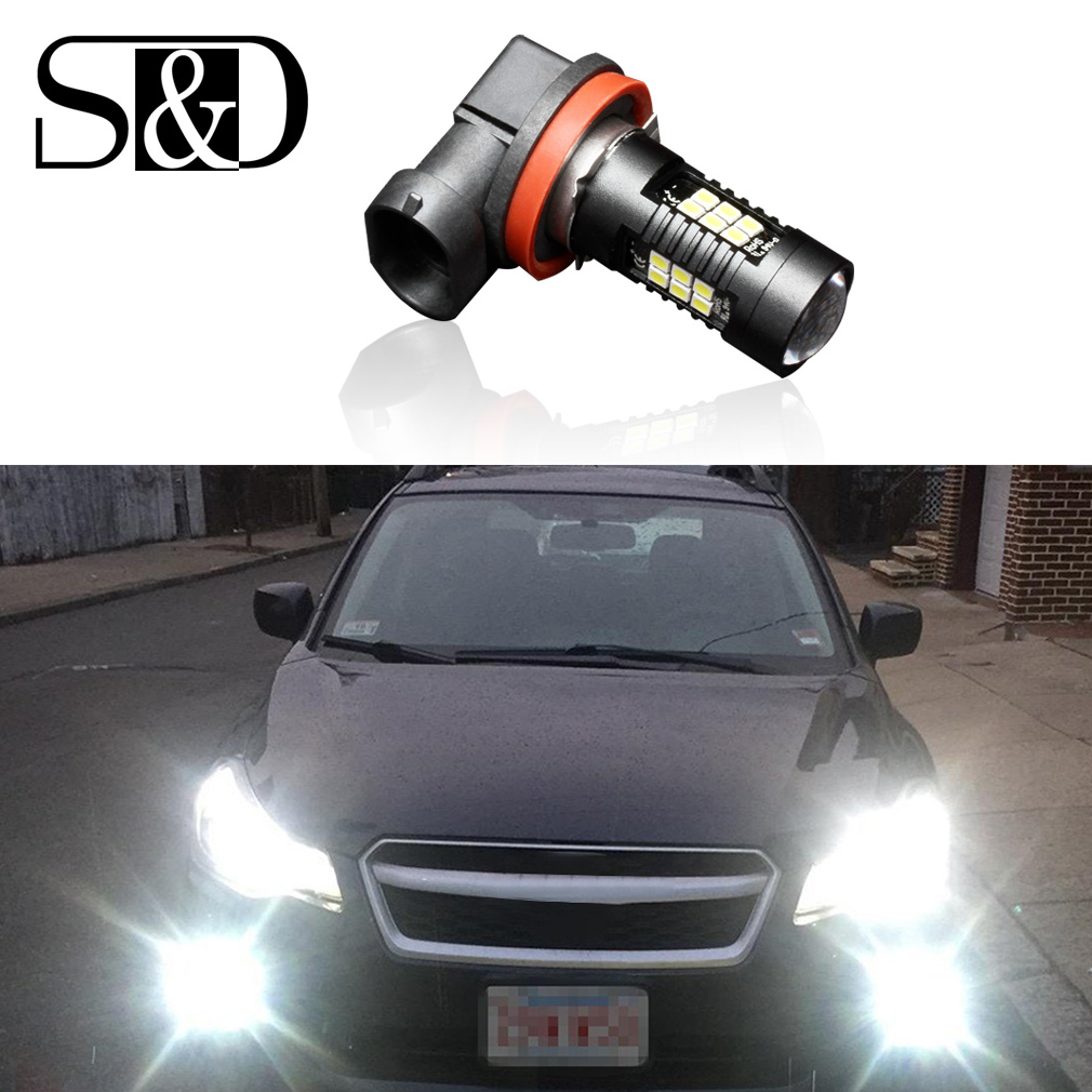 1200Lm H8 LED Car Lights Auto LED Bulbs 21SMD 3030 White Daytime Running Lights DRL Fog Light 6000K 12V LEDs Driving Lamp