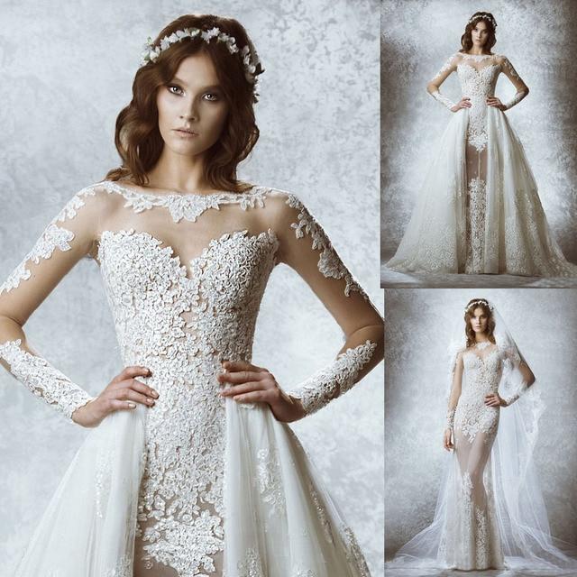 2015 New Elegant Full Long Sleeves Mermaid Wedding Dresses: 2015 New See Through Lace Sexy Mermaid Detachable Skirt