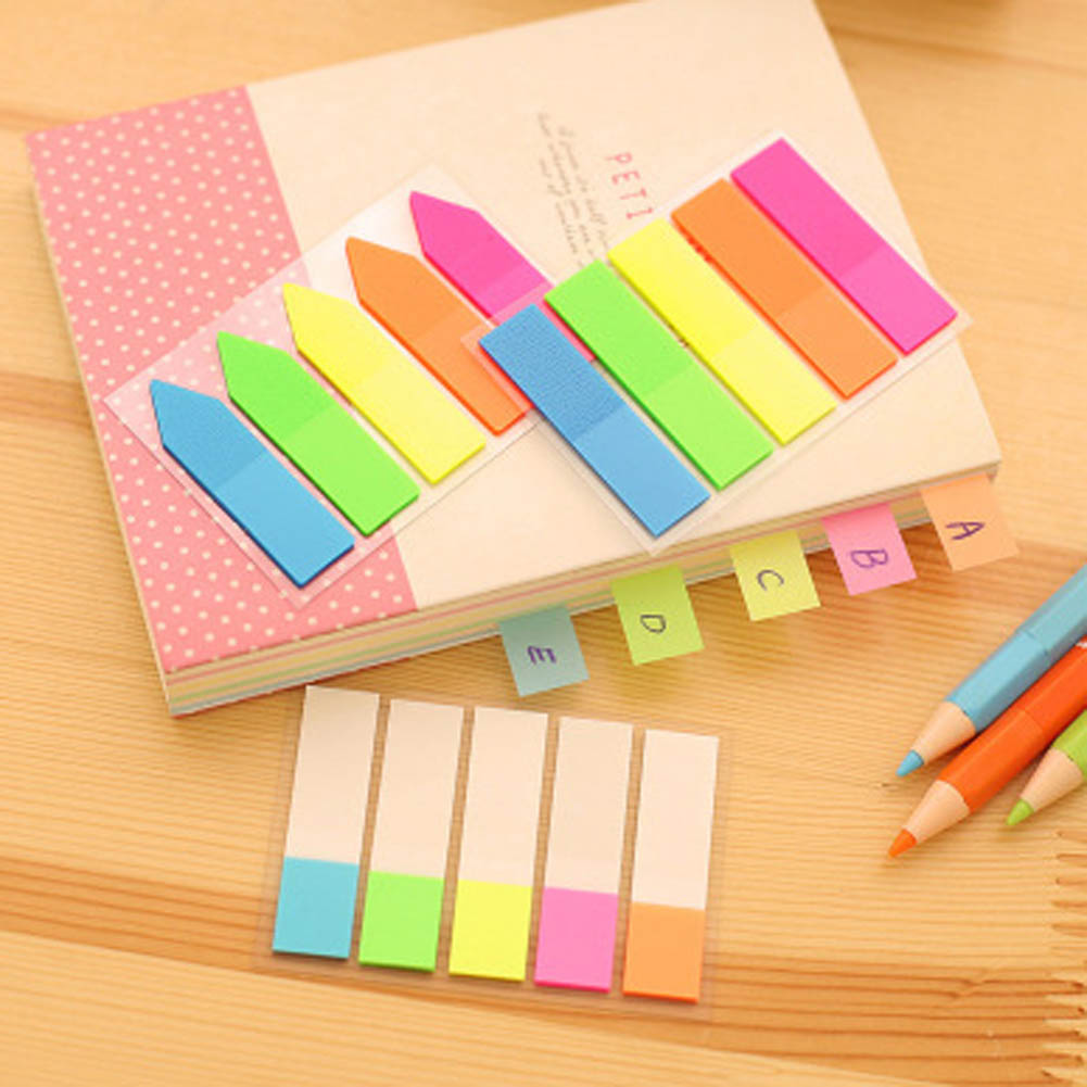 1 Lot Office Stationery Sticky Notes Fluorescent color Pages Sticker Post Bookmark Point Memo Pad Paper