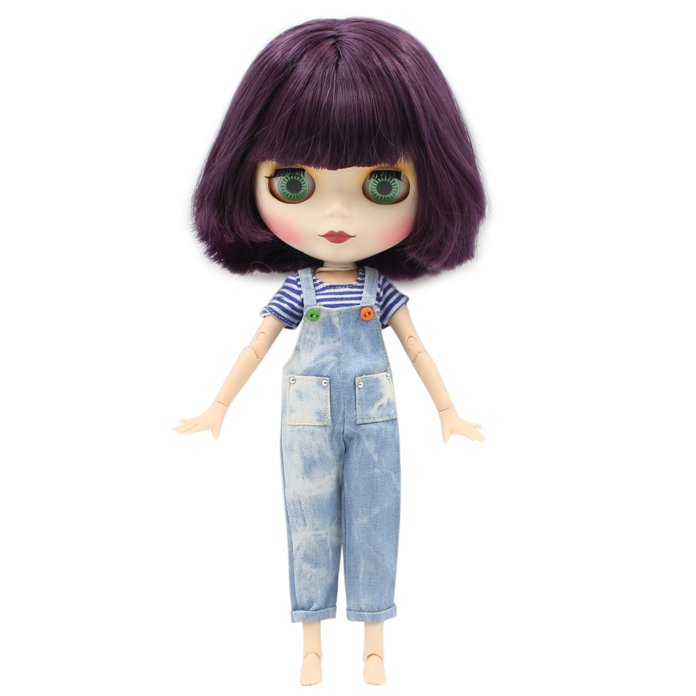 Blyth joint doll with short purple Hair matte face white skin 1 6 Nude Doll 30cm