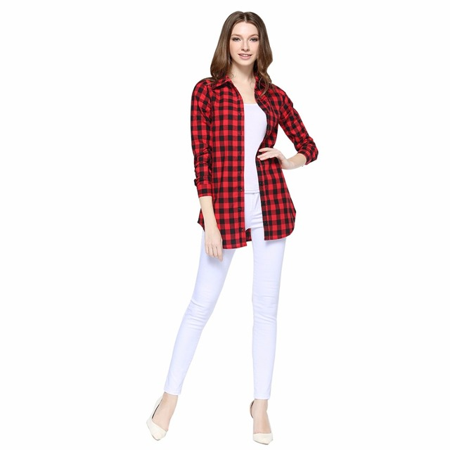 HOT SALE Ladies Girls Cotton Long Casual Shirts