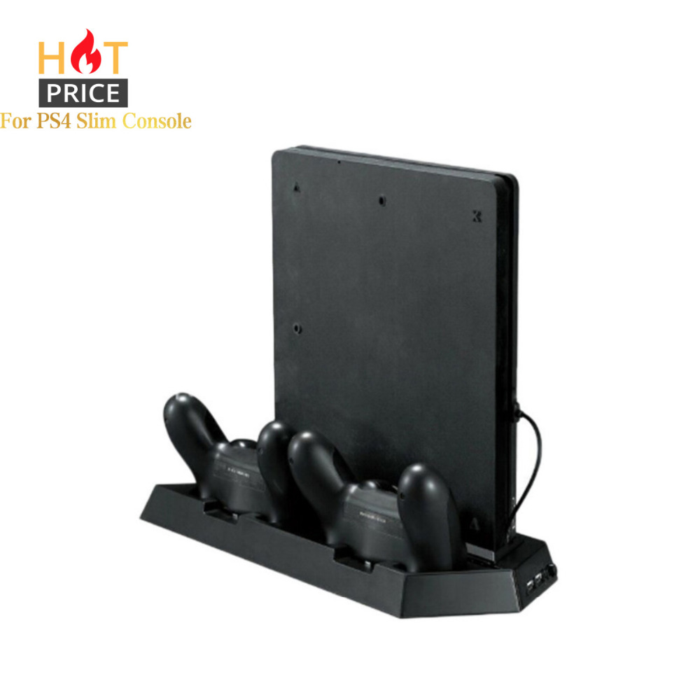 Alloyseed Game Console Stand til PS4 Slim Console Lodret Game Console Stand Dock med Dual Ladestation Dropshipping