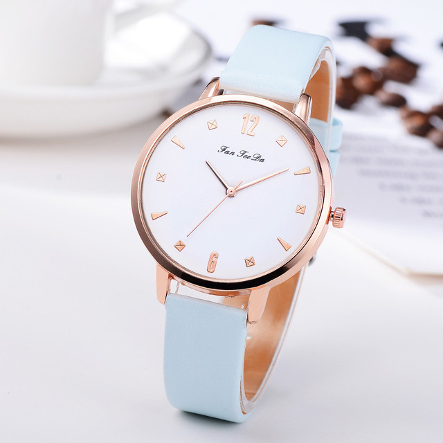 Fanteeda Brand Leather Watches Women Creative Casual Quartz Wristwatches Ladies