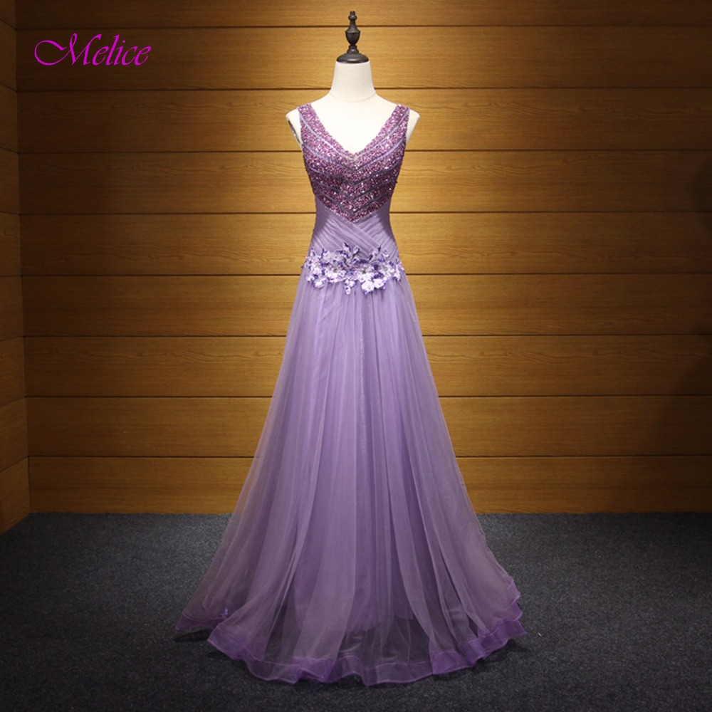 Melice V-neck Beaded Lace Up Robe de Soiree A-Line Long   Evening     Dress   2019 Graceful Appliques Celebrity   Dress   Formal Party Gown