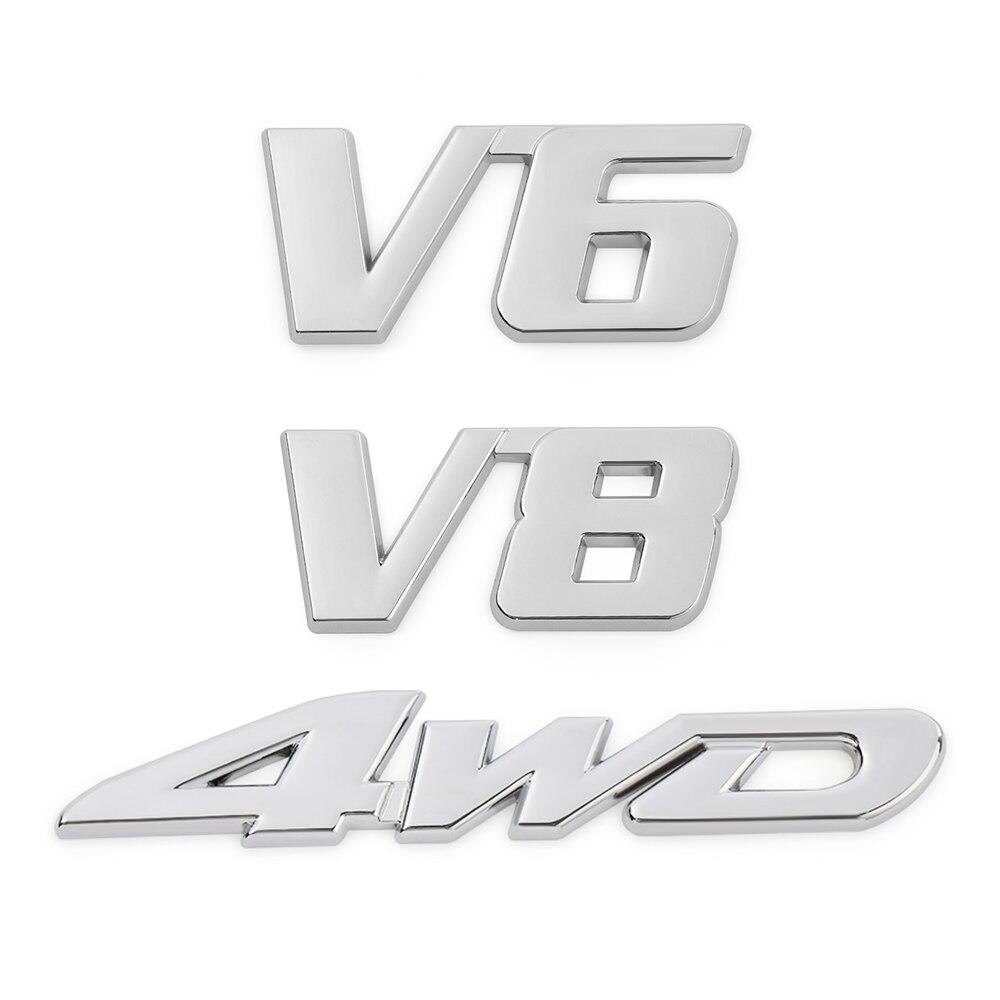 "4/"" 3D Metal V8 V6 Car Auto Logo Sticker Adhesive Badge Emblem Motorcycle Decals"