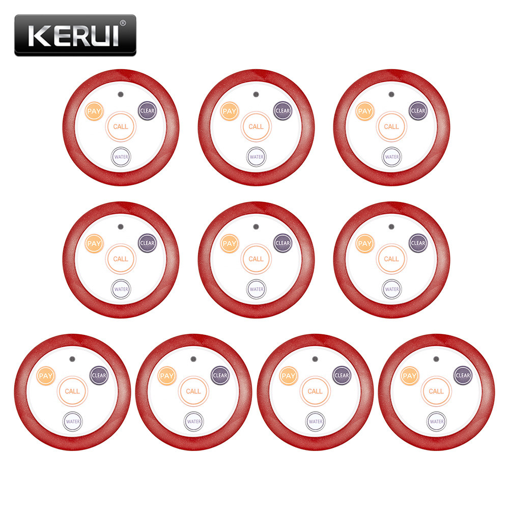 KERUI 10pcs Restaurant Pager Wireless Waiter Calling System Call Button Pager Four-key Buzzers For Restaurant Equipment Cafe