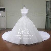 Gorgeous Customed Lace Applique Scoop Ball Gown Wedding Dresses Vintage Dubai Bridal Gown Royal Train Wedding Dress XF16111