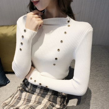 New Fashion Button Turtleneck Sweater Women Spring Autumn Solid Knitted Pullover Women Slim Soft Jumper Sweater Female Knit Tops 2