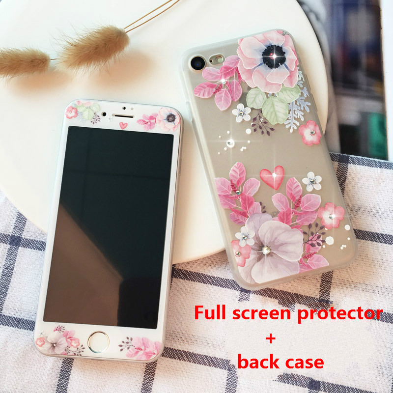 2 in 1 full floral tempered glass film+soft TPU phone back case for iphone7plus silicone cover for iphone 6 6s 6plus 8 8pluscase