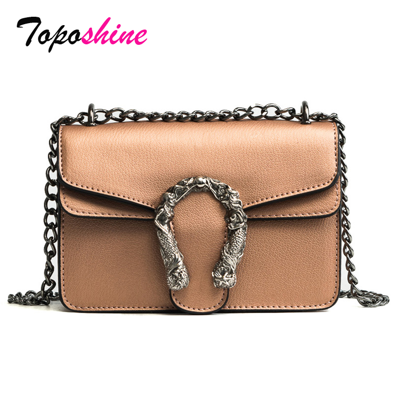 Toposhine Chain Crossbody-Bags Fashion Women Ladies Flap Pu Wide-Strap Hard Elegant All-Match