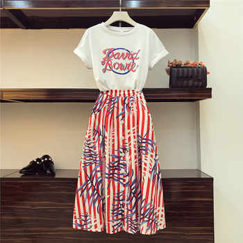 High Quality Runway Style Women Two Piece Sets Letter Print Short Tshirt Tops and Single-breasted Striped Print Mid Skirt Sets