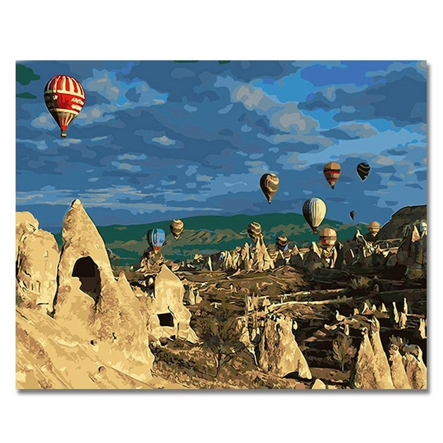 Heißluftballon Bilder Malen Nach Zahlen DIY Digital Türkei stil Wand ...
