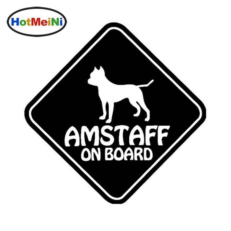 HotMeiNi Vinyl Sticker Car Decals AMSTAFF ON BOARD PET DOG Black Silver 15CM*15CM