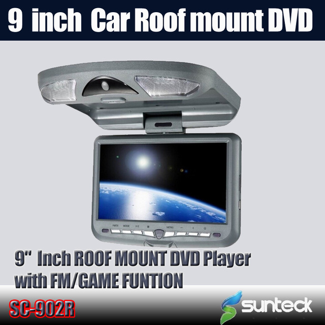 Free Shipping 9 inch Roof Mount Car DVD Player with 32bit Game+MPEG4+USB+SD+FM+IR