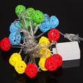 Sepa Takraw Light Ambient Lighting Outdoor String Patio Garden Rope Warm White / Mulit Color 20 Lamps Rattan