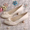 "Bride Collections Round Toe Rhinestone 2"" Cone Heel Satin Women Wedding Bridal Shoes Ivory"
