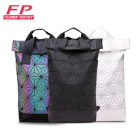 Luminous Backpack Folding Lattice Bag Men Travel Laptop Backpacks Geometric Women School Bag Teenage Girl Noctilucent Backpack