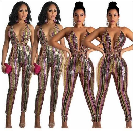 Danse V Chanteur Sexy De Plongeant Femmes Paillettes Anniversaire Pic Manches Leggings Sk Salopette Rayé Col Célébrer Lumineux Spandex Dj Color Sans wIwqT1Sr