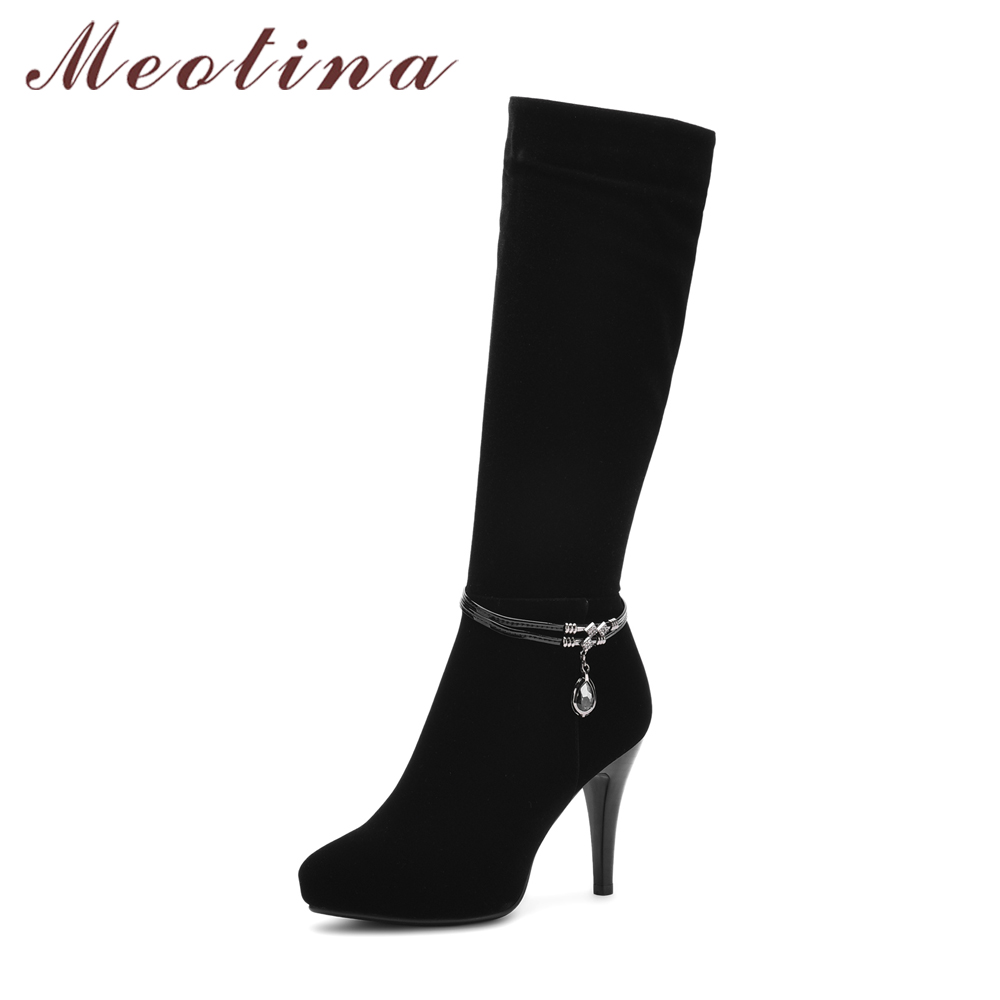 Meotina Women Knee High Boots Platform High Heels Winter Boots Zipper Thin Heels Sexy Ladies Boots Autumn Black Botas Mujer new women knee high boots black and white sexy low heels pu leather autumn winter shoes round flat platform boots botas mujer